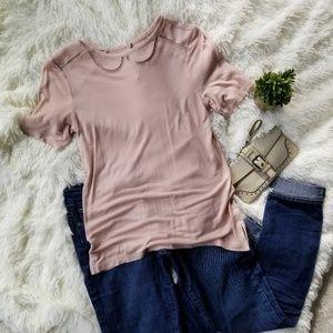 ANN TAYLOR LOFT   Soft blush cotton T shirt